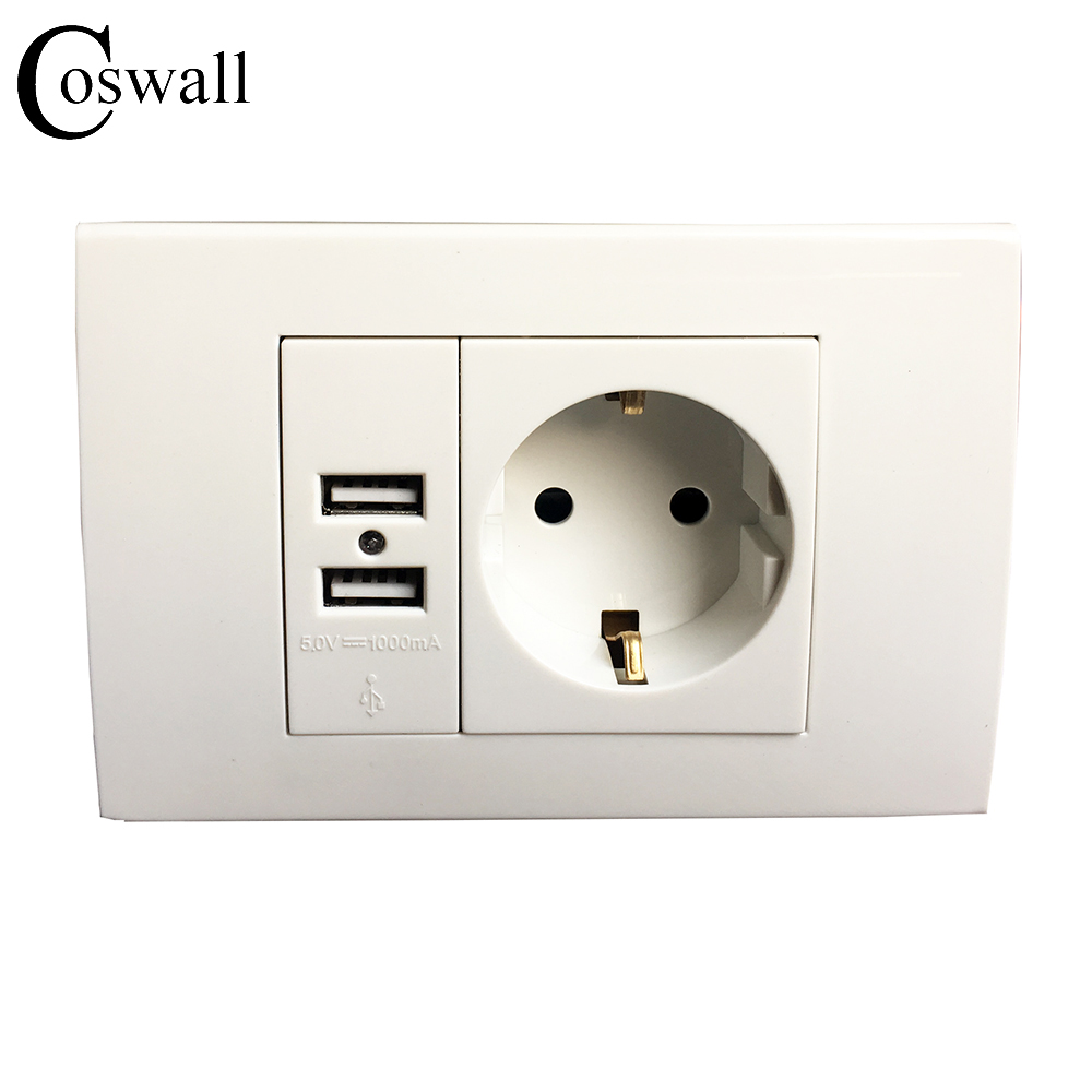 Wall Power Socket Plug Grounded, 16A EU Standard Electrical Outlet With 1000mA...