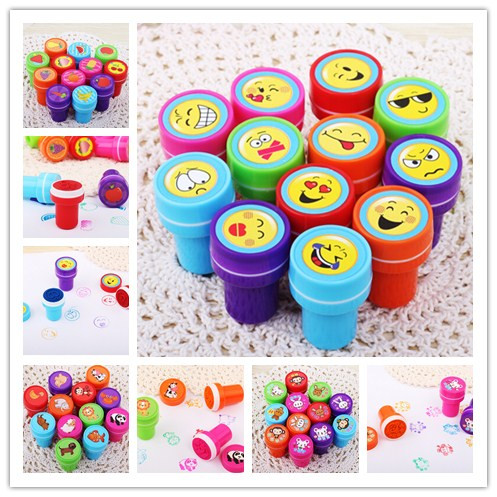12PCS Self-ink Stamps Kids Toy  Party Favors Event Supplies For Birthday Gift Boy Girl Goody Bag Pinata Fillers Fun Stationery