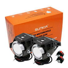 SUNKIA 2Pcs/Lot U5 Motorcycle Projector Headlight High Power LED CREE Chip 3 Modes 3000LM Motorbike Head Fog Lamp with Switch