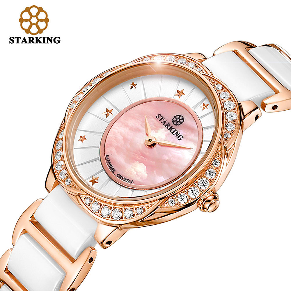 STARKING Women Quartz Watch Shell Dial Crystal Rhinestone Dress Women Clock Fashion Real Ceramic Lady Watches Relogio Feminino