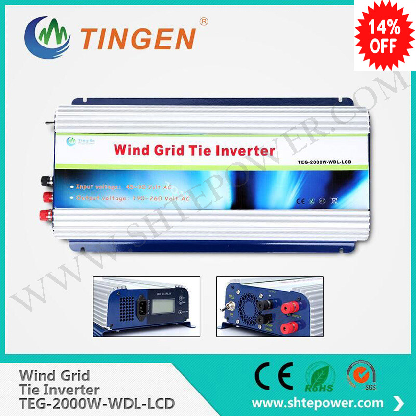 2000w 2kw wind charge inverter dc to ac output on grid tie great quality with dump load resistor input 45-90v maylar 2000w wind grid tie inverter pure sine wave for 3 phase 48v ac wind turbine 90 130vac with dump load resistor