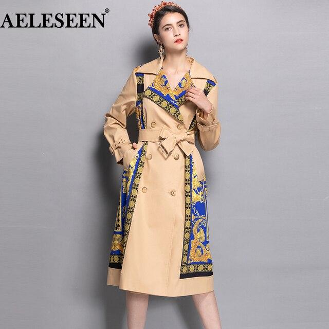 AELESEEN 2018 Womens Fashion Trench New Fall Winter Full Sleeve Turn Collar Luxury Vintage Print Slim Belt Elegant Long Coat
