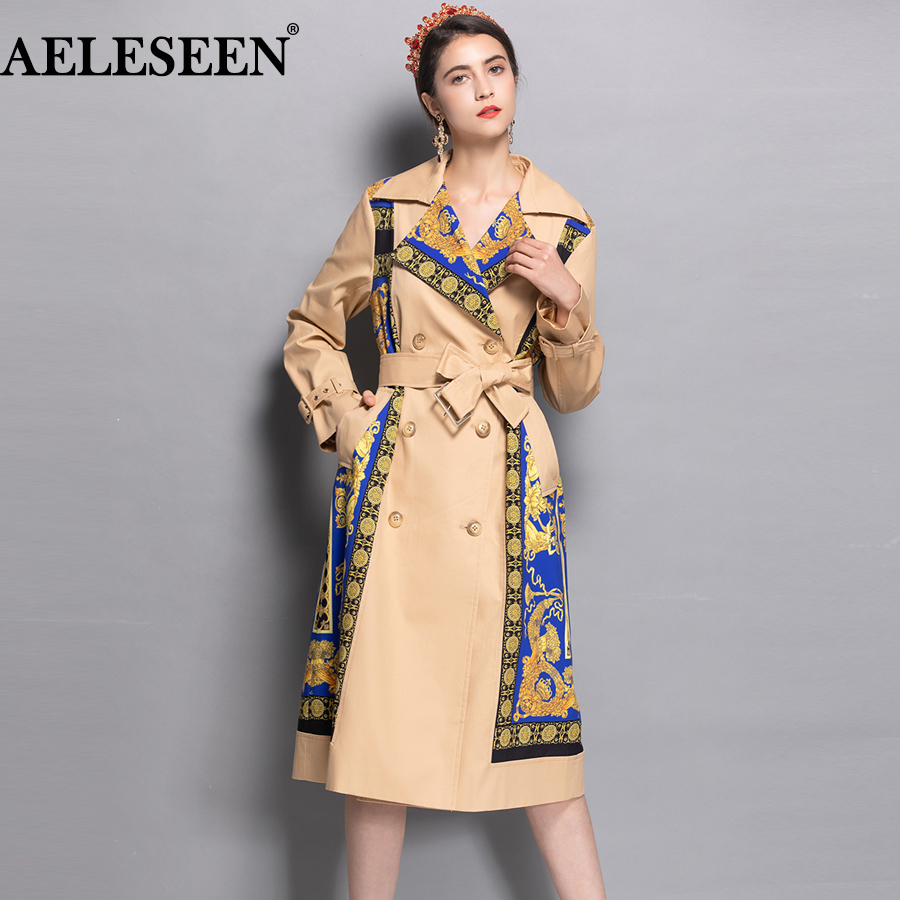 AELESEEN 2018 Women's Fashion   Trench   New Fall Winter Full Sleeve Turn Collar Luxury Vintage Print Slim Belt Elegant Long Coat