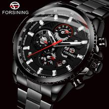 FORSINING Top Brand Luxury Mens Watches Calendar Display Black Stainless Steel Automatic Wristwatch Military Sports Male Clock