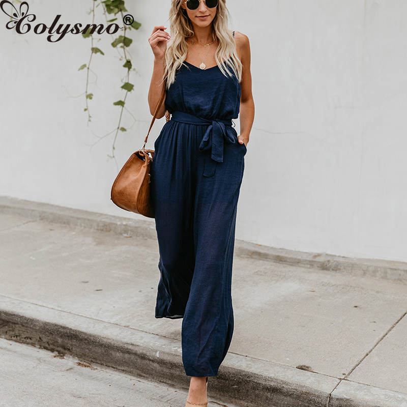 Colysmo Sexy   Jumpsuit   Wide Leg Pants Plus Size Summer   Jumpsuits   For Women 2018 Sexy Bodysuit Playsuit Strappy Rompers Overalls