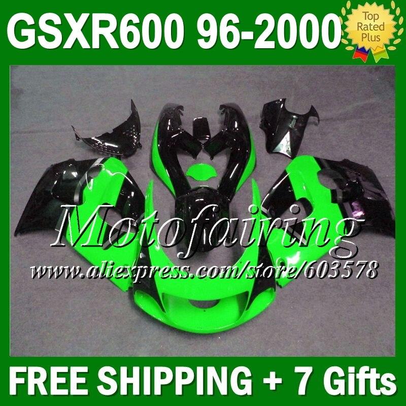 + зализа зеленый черный для SUZUKI GSXR 600 3C315 GSXR600 1996 1997 1998 1999 2000 свет зеленый blk GSX R600 SRAD 96 97 98 99 00