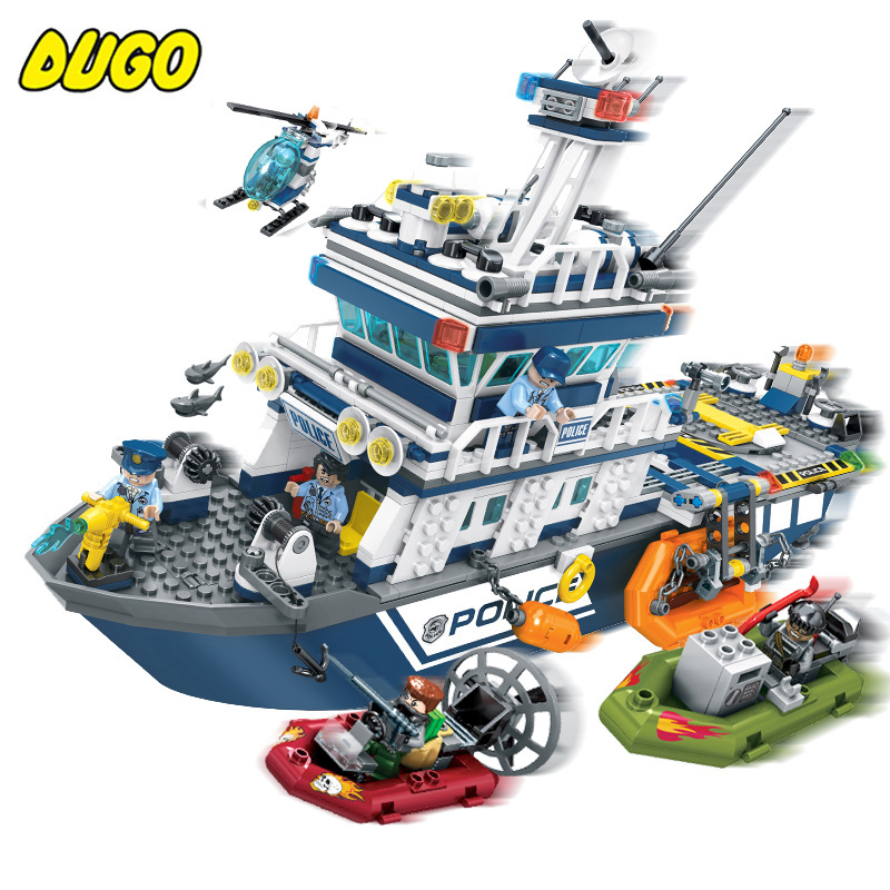869pcs Police Series Patrol Boat Helicopter Building Blocks Compatible Legoe City Police Air Force Plane Yacht Toys For Children 1700 sluban city police speed ship patrol boat model building blocks enlighten action figure toys for children compatible legoe