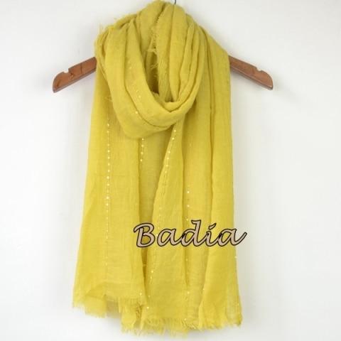 Однотонный Простой Большой рекламный женский шарф, блестящий Блестящий шарф, шаль, большой летний шарф - Цвет: yellow