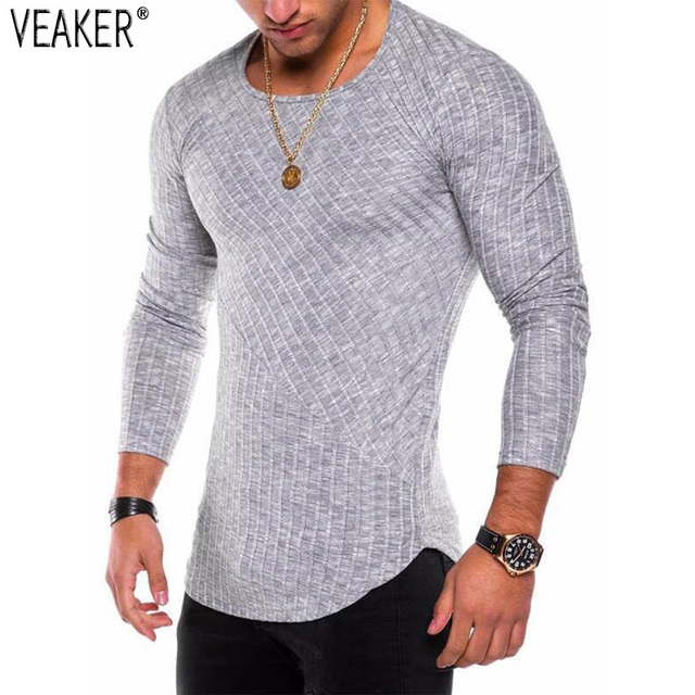 6ca77b9c3 2018 New Men's Sexy Long Sleeve T shirt O neck Slim Fit T-shirt Male Solid  Color Streetwear Hip Hop High Street Tops