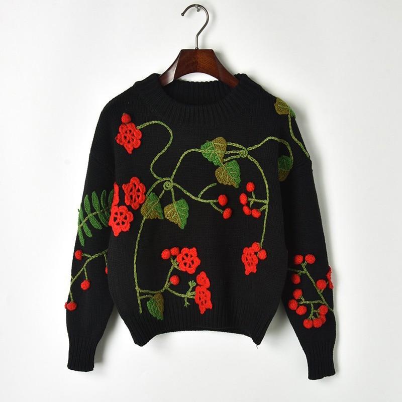 2018 осень зима свитер женский подиум Женский вязаный высококачественный дизайнерский роскошный цветочный пуловер с вышивкой джемпер Pull Femme