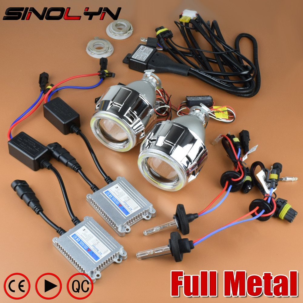 SINOLYN Upgrade Full Metal 2.5'' Pro Leader HID Bi-xenon Projector Headlight Lens Kit With/ Without White Angel Eyes Halo Lenses sinolyn 3 0 super hid bixenon lenses headlight car projector lens square u led angel eyes halo daytime running lights headlamp