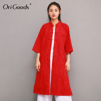 OriGoods Linen Silk Chinese style Long Blouse Women Vintage Solid Red White Long Shirt Women 2019 Summer New Blusas Tops F040