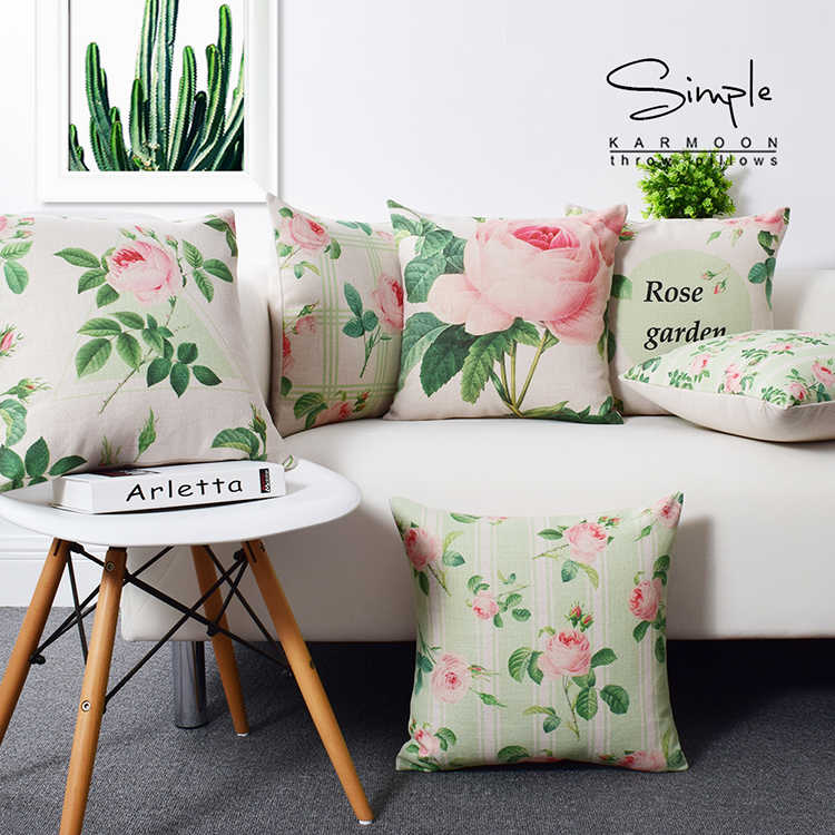 Case Shabby Chic Country.Fashion Shabby Chic Rose Cushion Cover Linen Flower Floral Throw Pillow Case Modern Garden Car Sofa Home Decor Country Style 18