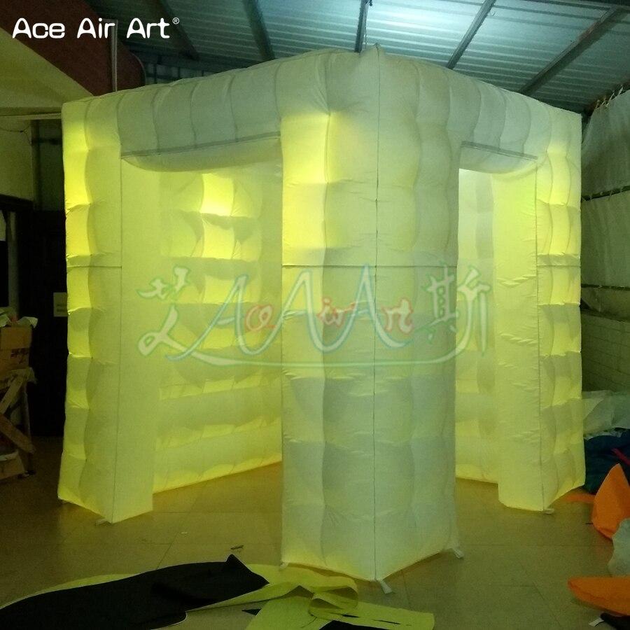 Accessoires gonflables de cabine de photo de conception de taille de porte scientifique, tente menée de cube d'éclairage avec le rideau attaché et les portes de taille différente - 5