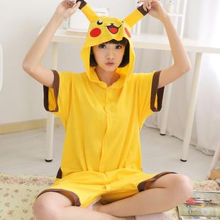 Vasaros trumpos Pikachu pižamos Gyvūnų odinis kostiumas Pikachu Vasaros trumpų rankovių kostiumas Unisex 100% medvilnės pižamos