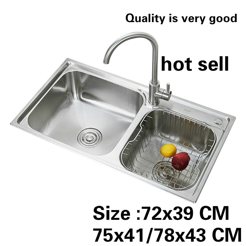 Free Shipping Standard Kitchen Double Groove Sink  304 Food Grade Wash The Dishes Stainless Steel Hot Sell 72x39/75x41/78x43 CM