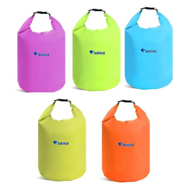Bluefield 5 colores 10L 20L al aire libre natación bolsa impermeable Camping Rafting almacenamiento bolsa seca con gancho de correa ajustable