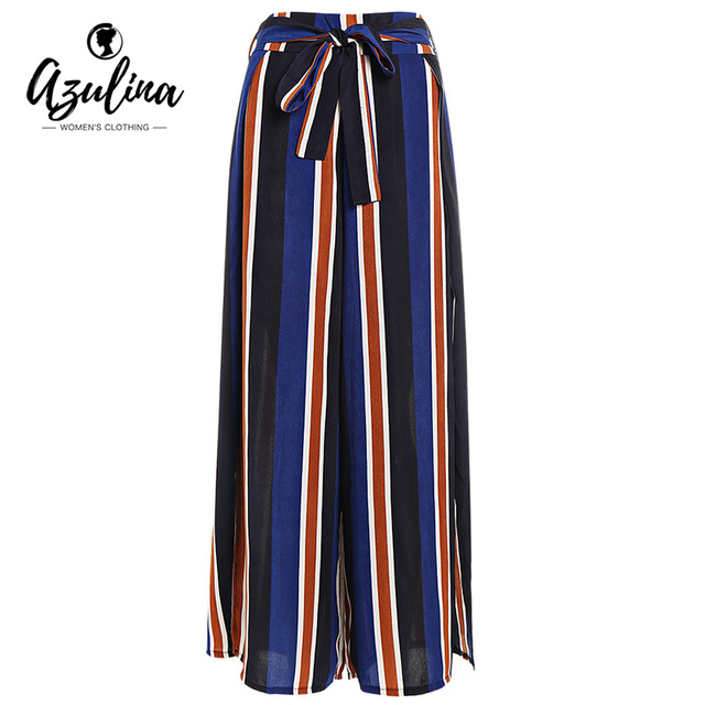 22e33d5b27e AZULINA Vintage Wide Leg Pants Women High Waist Palazzo Pants Striped Slit  Casual Ladies Pants Zipper Fly Loose Trousers 2018