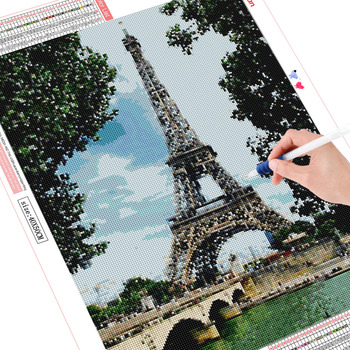 HUACAN Full Square Diamond Painting Eiffel Tower 5D DIY Mosaic Diamond Embroidery Landscape Decor Home