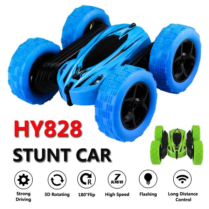 HY828 Control Remoto coches del Rc coche de alta velocidad intermitente 3D Flip verde y azul Carro Control Remoto juguetes para los niños
