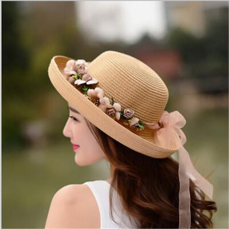 Summer Handmade Flower Straw Hat Women's Garland Sunbonnet Bucket Hat Roll-up Hem Beach Cap Sun Hat For Women