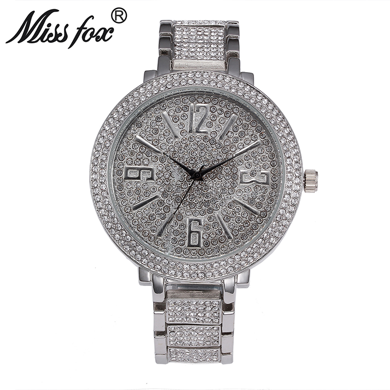 Miss Fox Big Dial Watches For Women Diamond Rhinestone Big Numbers Watches Women Stainless Steel 22mm Band Silver Wrist Watch