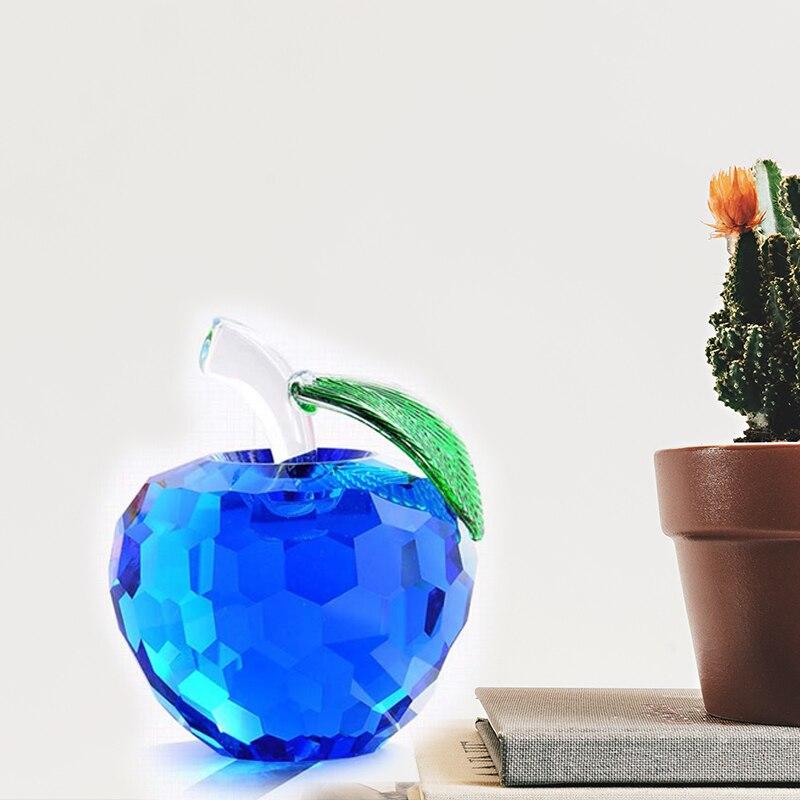 6 cm de cristal facetado de figuras de manzana miniaturas de corte - Decoración del hogar