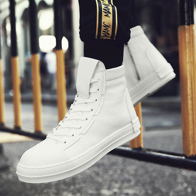 Valstone Hip Hop shoes Men leather casual shoes 2018 spring fashion sneakers  white high tops Male 581aa0d20c9f