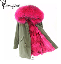 YOUMIGUE Pink Fox fur Parka,long style fashion winter fox fur jacket for lady fox fur outwear,mulitcolor army green women parka