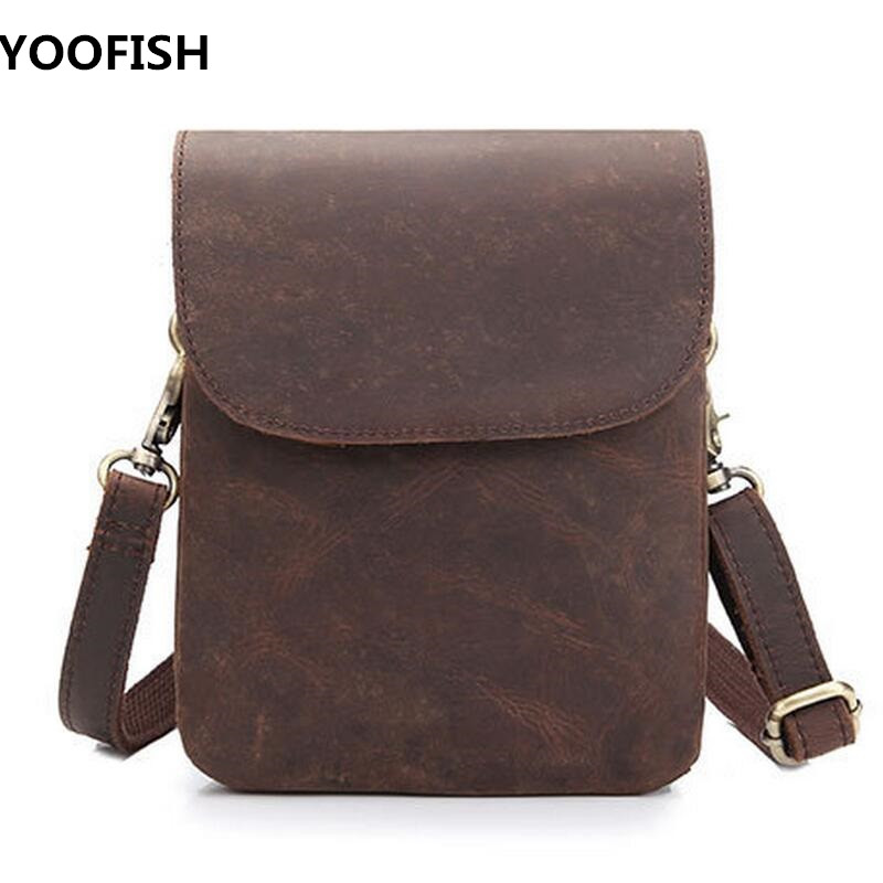 Genuine Leather Men Bag Crazy Horse Leather Men's Handbags Casual Business  Shoulder Bags Briefcase Messenger bag  NEW  LJ-0523 padieoe men s genuine leather briefcase famous brand business cowhide leather men messenger bag casual handbags shoulder bags