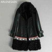 Arlenesain custom 2018 new fashion black merino sheep fur women coat