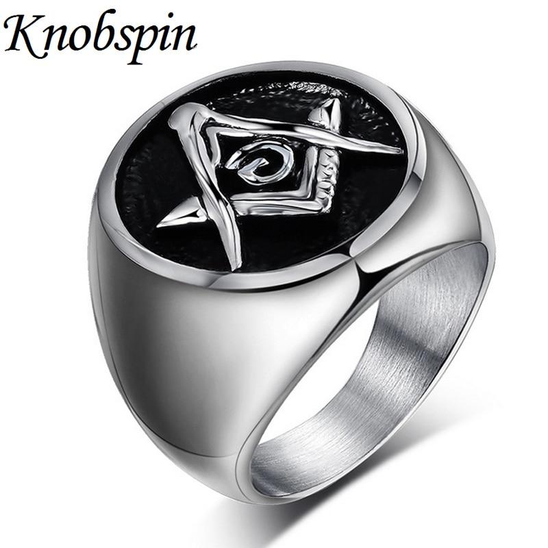 Fashion Masonic Ring men high quality Titanium Steel Jewelry Rings for men women Trendy finger Jewelry anel