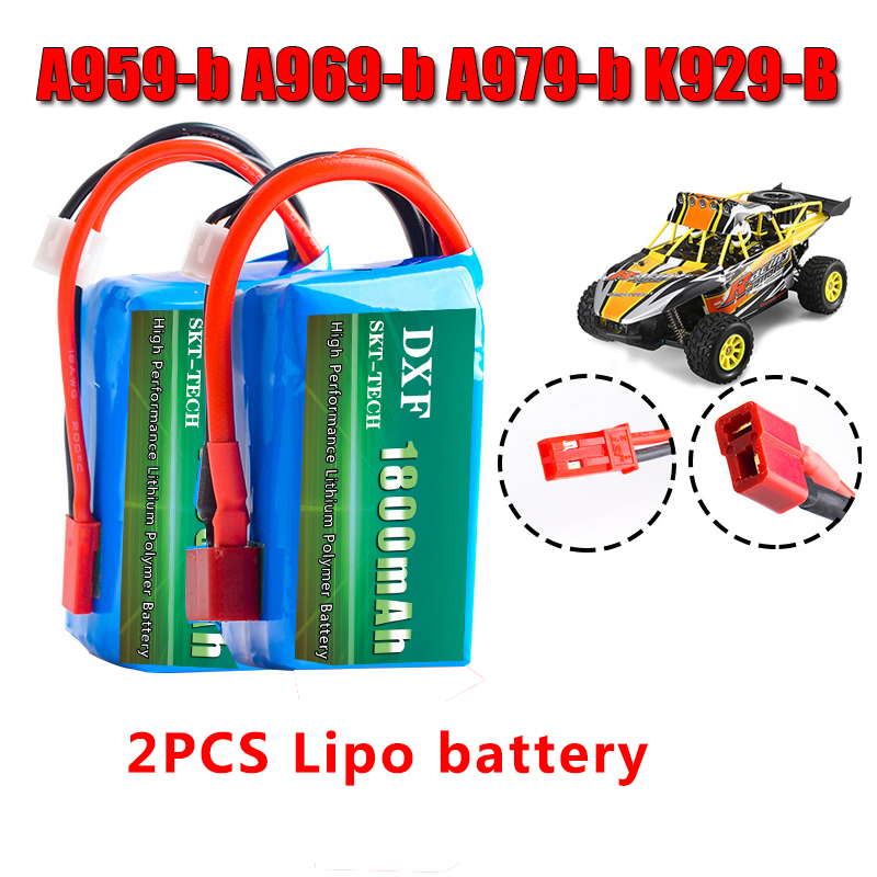DXF 2PCS Li Polymer 2S Lipo Battery 7.4V 1800mah 20C Max 40C for Wltoys A959 b A969 b A979 b K929 B RC Car Boat Quadcopter FPV