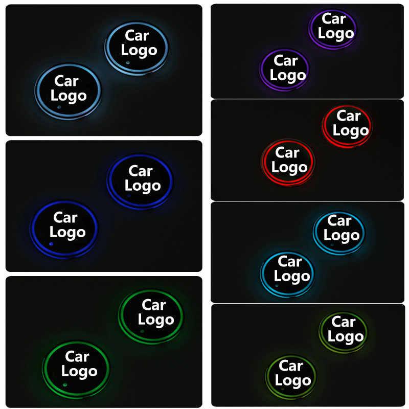 2X feux de tasse de logo de voiture à LED pour Jeep Acura Buick Chevrolet chryle BYD Dodge Fiat Mitsubishi Renault accessoires de caboteur lumineux