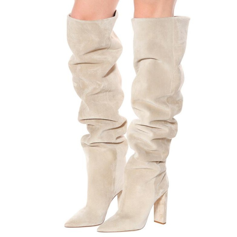 New Fashion Flock Leather Women Over The Knee Cream Color Boots Sexy Chunky High Heels Women Shoes Winter Boots Warm Size 35-43