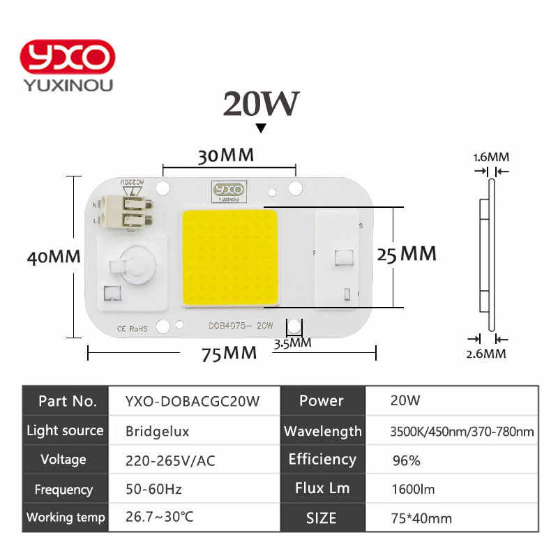 SMD COB Spotlight AC 220V DOB Led Bulb Chip Beans Smart IC 20W 30W 50W Energy Saving Outdoor Lamp White/Warm Supper Bright Light