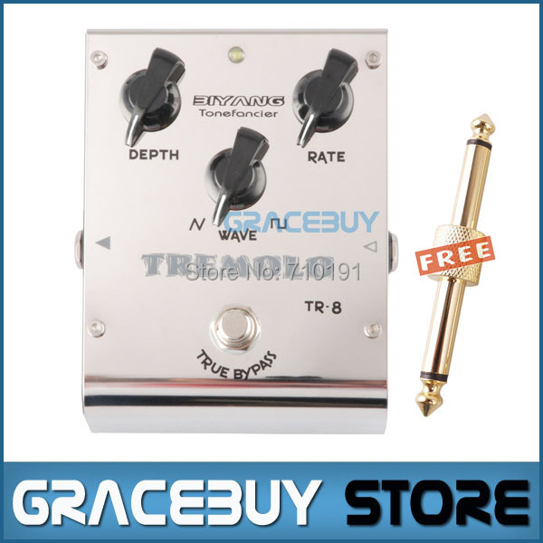 Biyang ToneFancier TR-8 Analog Tremolo Electric Guitar Bass Effect Pedal 2 Wave Form Adjust True Bypass Musical Instrument electric guitar pedal bass true bypass effect white custom biyang controls level top treble guitarra pedales new