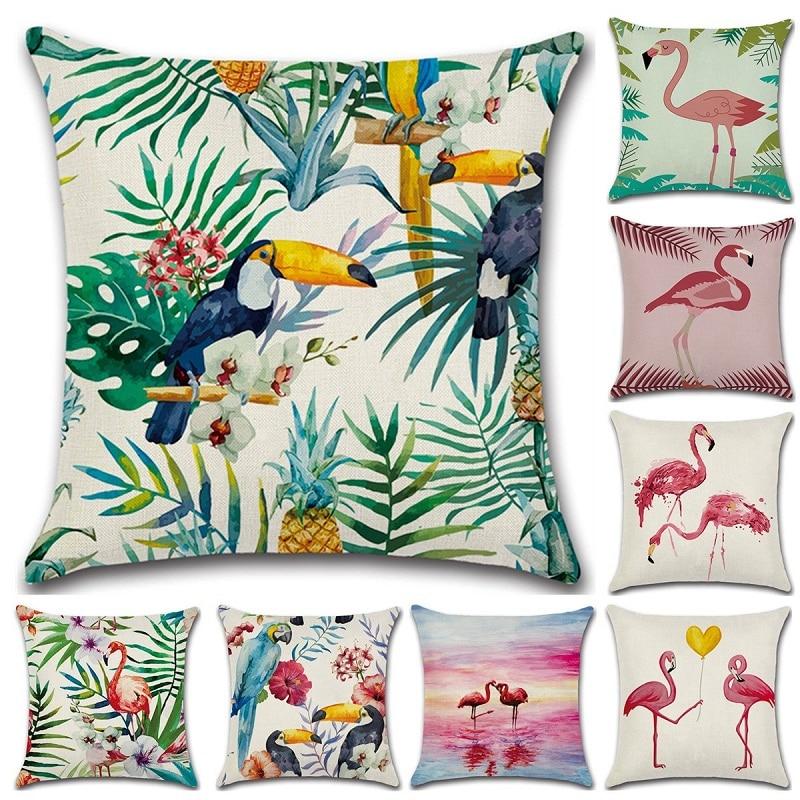 45*45cm Birds Throw Pillow Case Linen/cotton Flamingo Cushion Cover Car Sofa Home Decor Almofadas Valentines Day Gift Wholesale