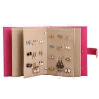 Lovely Portable Notebook Diary Design PU Leather Earring Ear Stud Jewelry Display Holder Organizer Rack Stand