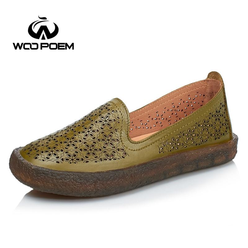 2017 여름 신발 여성 정품 가죽로 퍼 신발 편안한 낮은 뒤꿈치 플랫 통기성 빈 흰색 여성 신발-에서여성용 플랫부터 신발 의  그룹 2