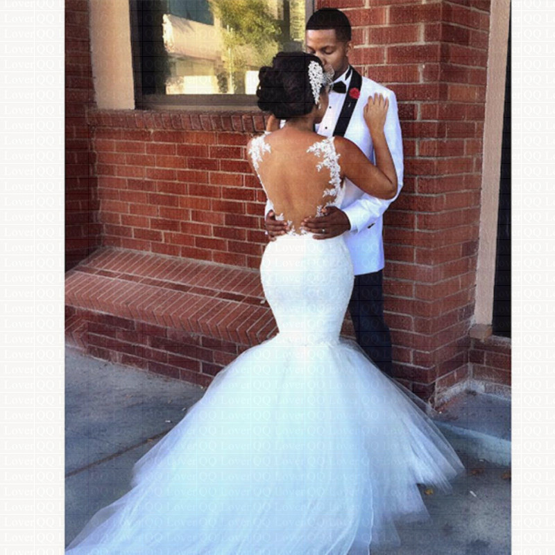 2019 New African Stunning Backless Mermaid Wedding Dress Spaghetti Straps Bridal Gowns