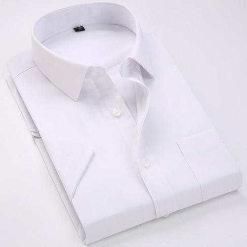 Men's Regular-fit Summer Short Sleeve Solid Classic Shirt Single Patch Pocket Formal Business Work Office Basic Dress Shirts 22
