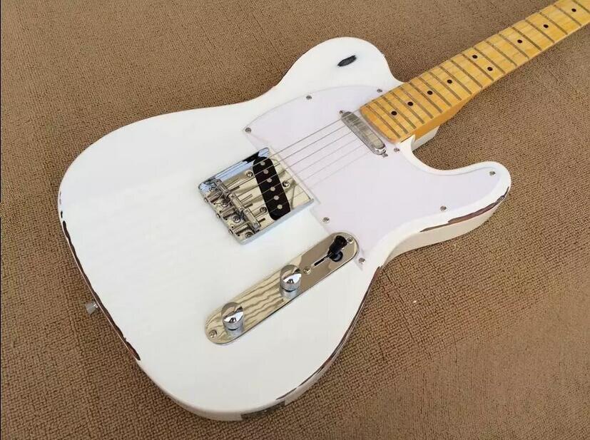 Guitare électrique blanche rétro, planche de garde blanche, planche à doigt en érable, livraison gratuite, bienvenue sur mesure.