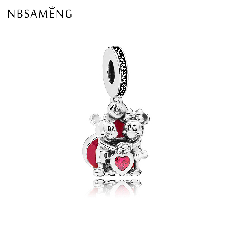 Original Free Shipping Silver Plated Bead Mickey and Minnie Mouse Love Heart Charm Fit Pandora Bracelet DIY Women Jewelry