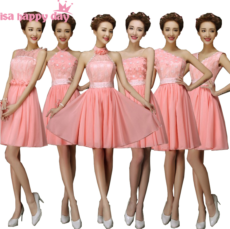 special occasion girls short cheap chiffon knee length   dress   sexy   bridesmaid     dresses   watermelon color to wear to a wedding H4237