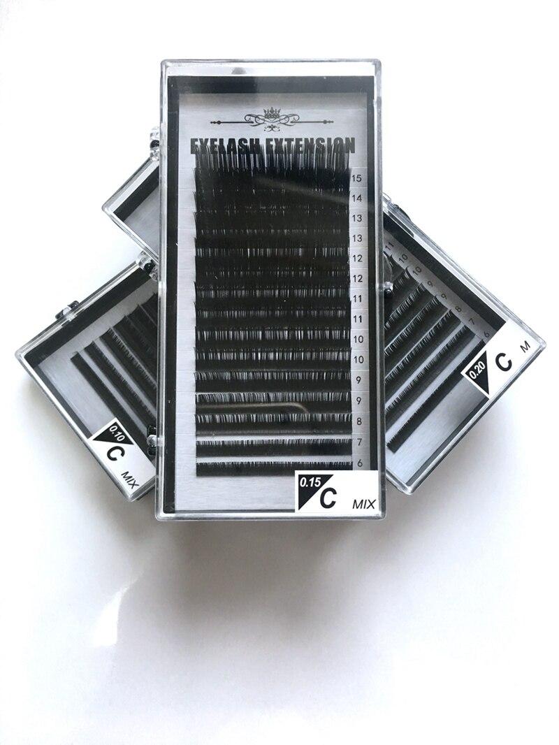 15rows / case, 6 ~ 15mm keverék egy tálcában, kiváló minőségű szintetikus nyérc, természetes nyérc, egyedi szempillahosszabbítás, cilios hamis szempillák