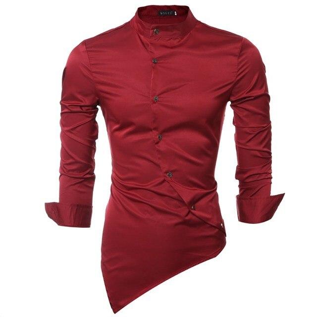 2ffcb0a5f91407 2018 Mens Shirt Brand Stylish Stand Collar Long Sleeve Irregular Hem Male Casual  Tops Slim Fit Solid Shirts Camisetas Plus Size