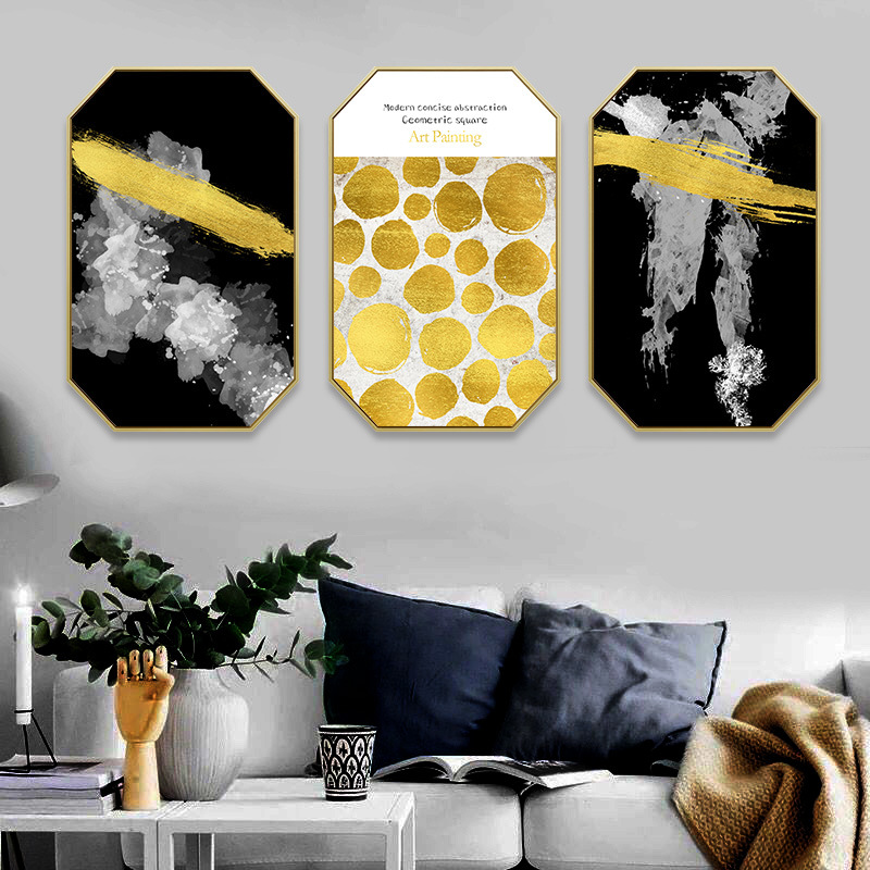 Nordic porch Living room sofa background wall octagon painting Hotel single Light luxury golden abstract decorative painting in Painting Calligraphy from Home Garden