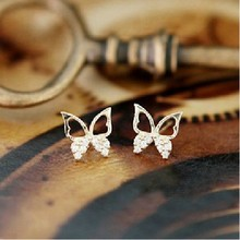 E464 2016 New !!! Ms. Exquisite Fashion Jewelry Sparkling Rhinestone Butterfly Hollow Generous Stud Earrings For Women a suit of graceful rhinestone butterfly earrings for women