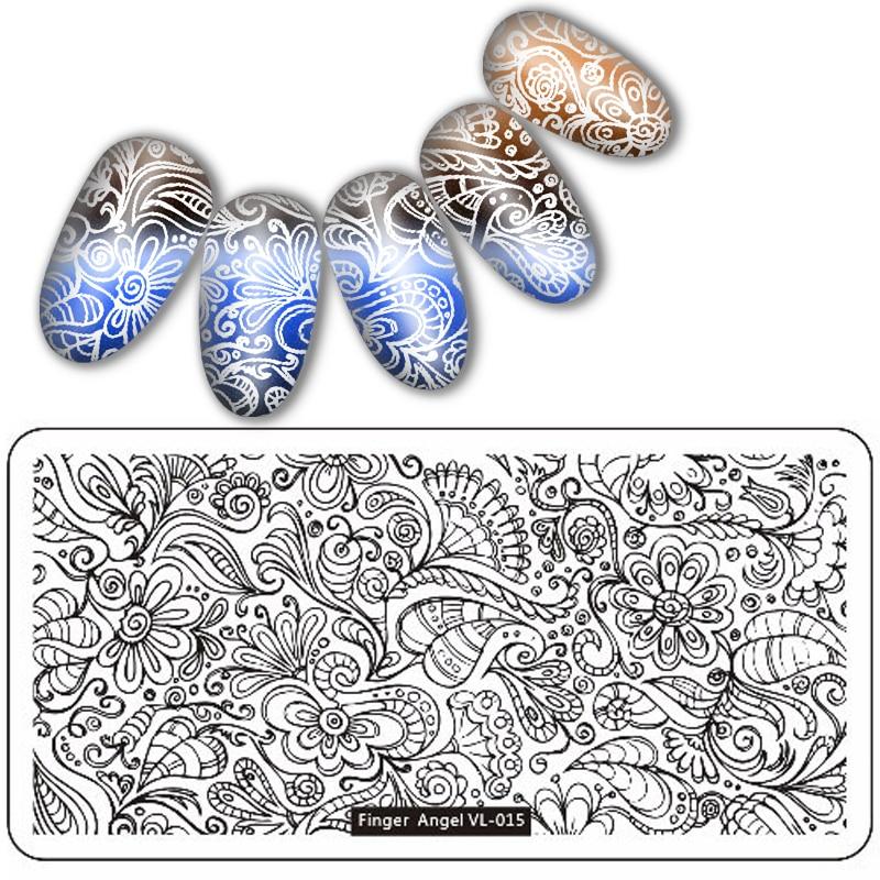 20 pièces/ensemble 12*6 cm Rectangle ongles estampage plaque Design de mode timbre ongles plaque manucure Nail Art modèle